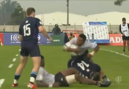 Junior Fijian winger comes up with epic offload in big win over Scotland
