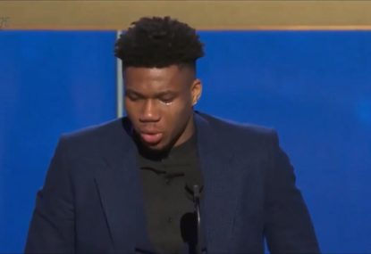 Giannis Antetokounmpo's emotional tribute to late father after winning NBA MVP