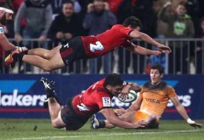 Crusaders fight past Jaguares to make it three straight Super Rugby titles