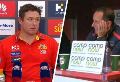 'We've got to live with that': Dew embarrassed at Crows coaches box laughter