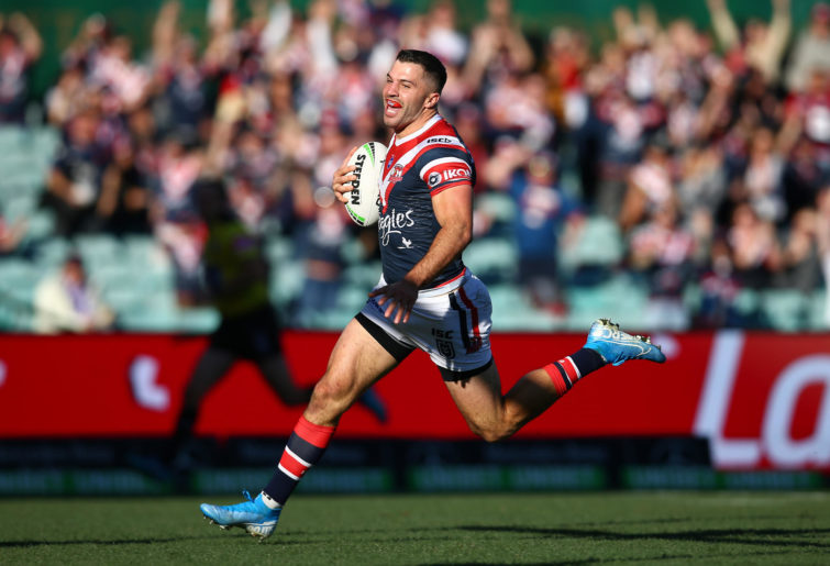 James Tedesco scores a try.