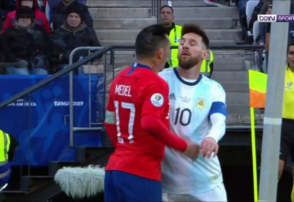WATCH: Lionel Messi controversially cops the second red card of his career