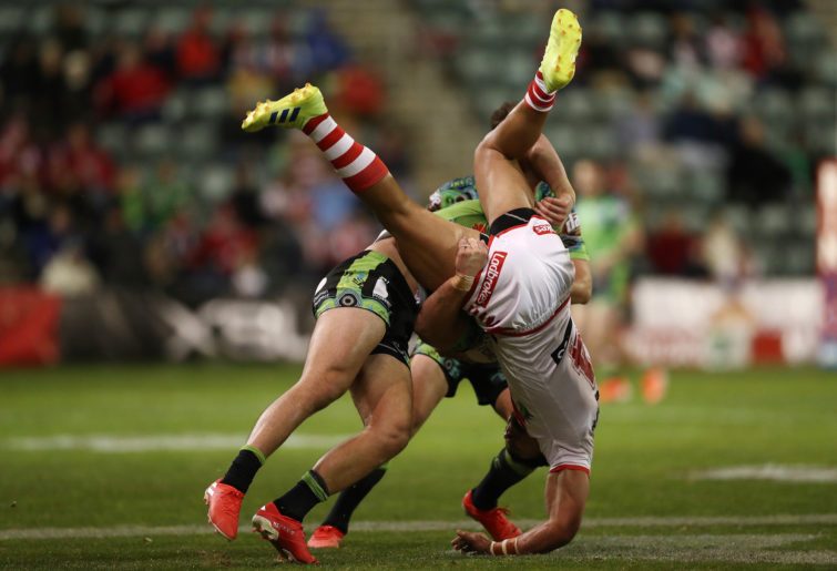 Nick Cotric spear tackles Tim Lafai.