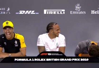 'He's crying!': Ricciardo's antics leave fellow driver in stitches at press conference