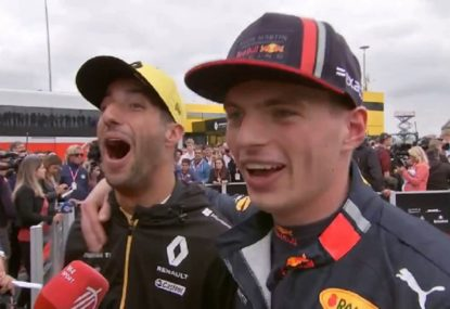 'F--- you!': Ricciardo and Verstappen trade banter in rare interview together