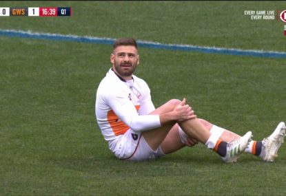 Concern for Stephen Coniglio after going down with serious-looking knee injury