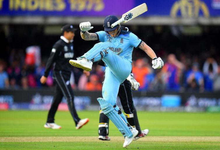 Ben Stokes kicks his bat