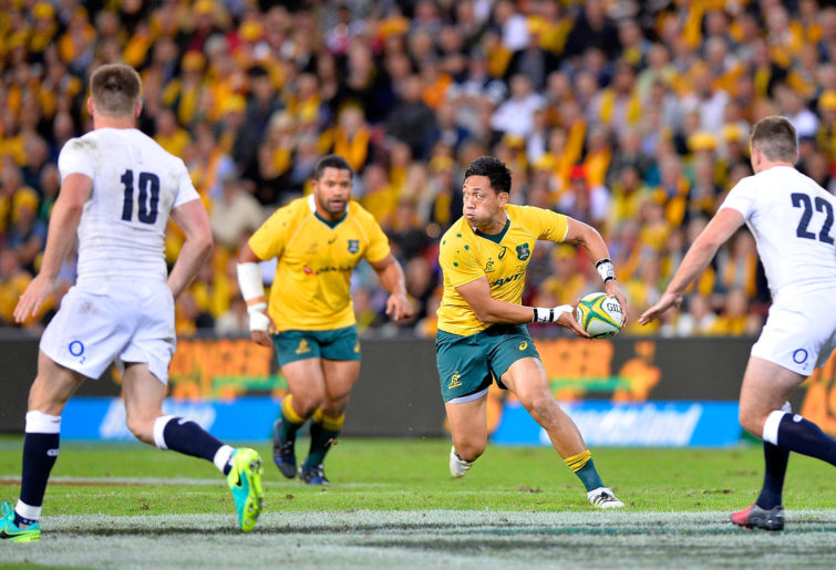 Christian Leali'ifano of the Wallabies looks to pass