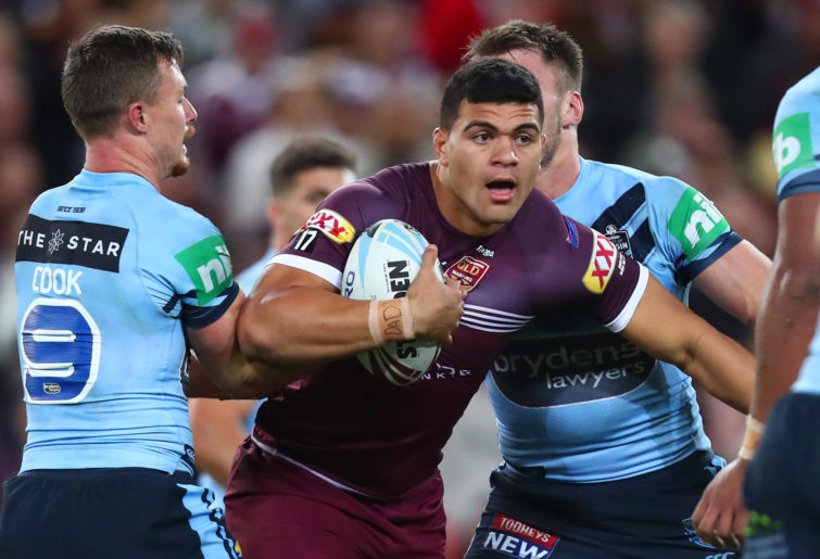 David Fifita of the Maroons runs the ball