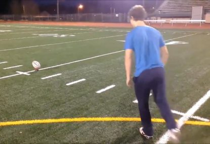 Rugby player nails crossbar challenge from 50 metres out!