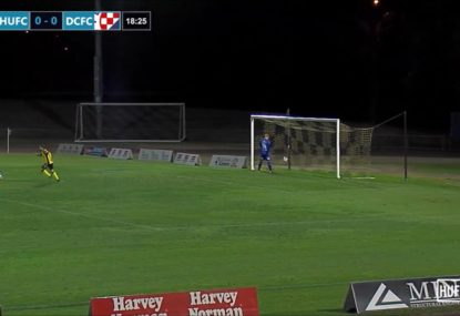 Unsuspecting long range lob leaves keeper absolutely stunned