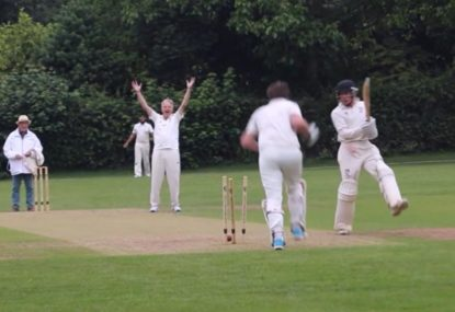 Batsman absolutely creams a pull shot... straight onto his own stumps