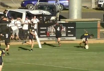 Runaway halfback's pinpoint grubber seals cracking try