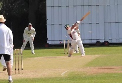 Massive hoick across the line sees stumps getting sprayed