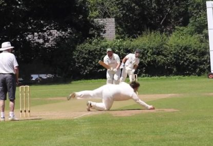 Off-spinner dives full stretch to take a beauty off own bowling