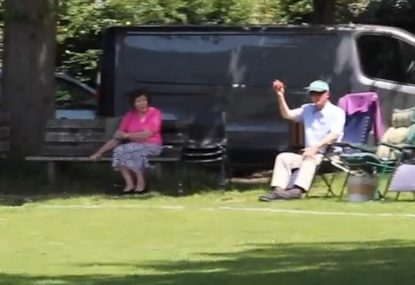 90-year-old Grandad in the crowd pulls off some impressive fielding