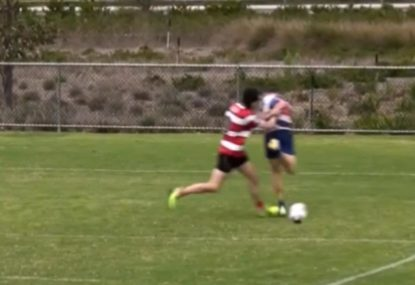 Foolish shove after try costs defender a yellow card