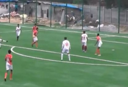Striker stuns the keeper with the most casual long-range lob