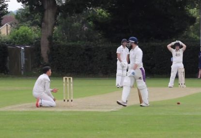Bowler butchers certain run-out after batsman had already given up
