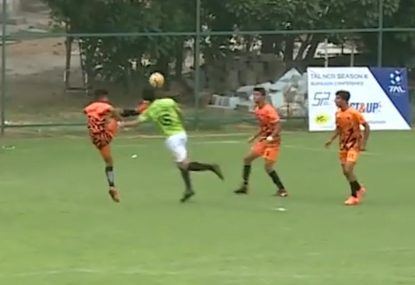 Footballer kicked in the FACE in dangerous high foot challenge