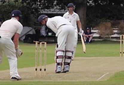 Batsman saved by MIND-BLOWING bail balancing on one stump miracle