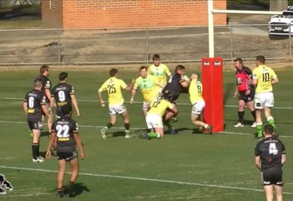 Fiery Panther fights off FOUR-MAN TACKLE for tasty meat pie