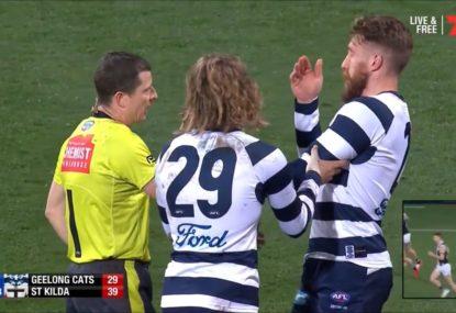 Commentators love it as Zach Tuohy cops an eyeful of umpire spit