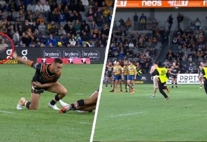 Cheeky antics take over late in Eels' win over Tigers