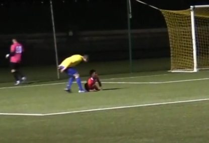 Diving blow-up has two footballers seeing yellow