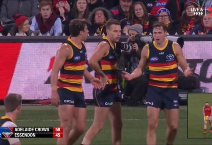 Crows defenders left blaming each other after conceding mark inside 50