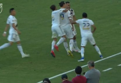 Zlatan Ibrahimovic scores a worldie and celebrates right in front of opposition coach