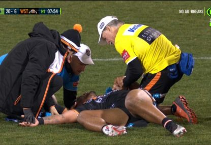 Wests Tigers pair take each other out attempting a tackle