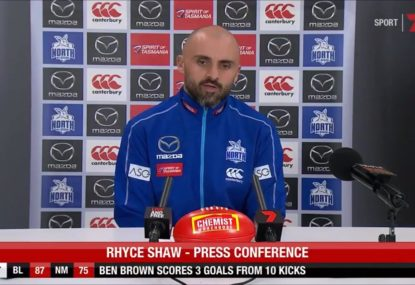 Rhyce Shaw reacts to the controversial last-minute free that cost the Roos