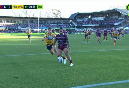 Eels debutant embarrasses Jorge Taufua to score sneaky try