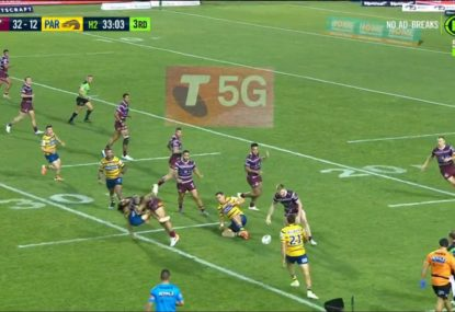 Jorge Taufua tries to send young Eel into next week with huge hit