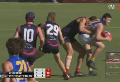 Did Braydon Preuss cost the Dees a goal trying to avoid a sling tackle?