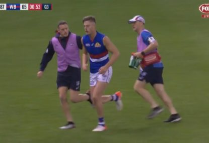 Josh Schache knocks himself in heavy fall from ruck contest