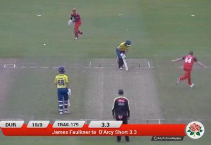 James Faulkner sends D'Arcy Short's off stump back to Hobart