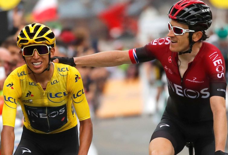 Britain's Geraint Thomas congratulates Colombia's Egan Bernal