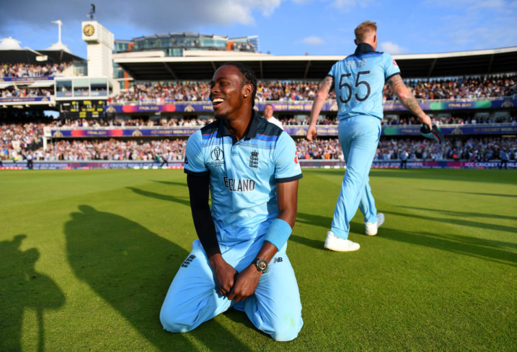 Jofra Archer reacts after the Cricket World Cup final