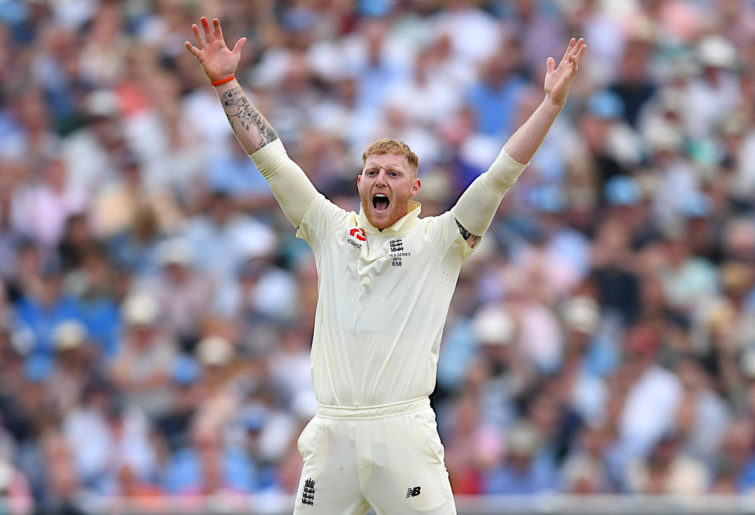 Ben Stokes appeals for a wicket.