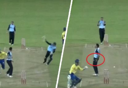 South African spinner cops it as keeper's run out attempt goes hilariously wrong