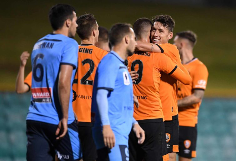 The Roar celebrate in the FFA Cup