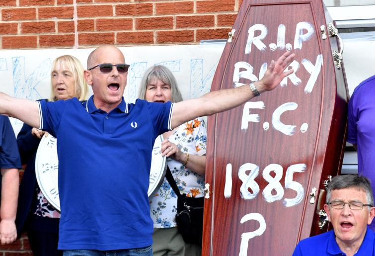 Bury FC fans protest.