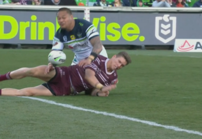 Joey Leilua's brain snap leads to rare eight point try for Manly