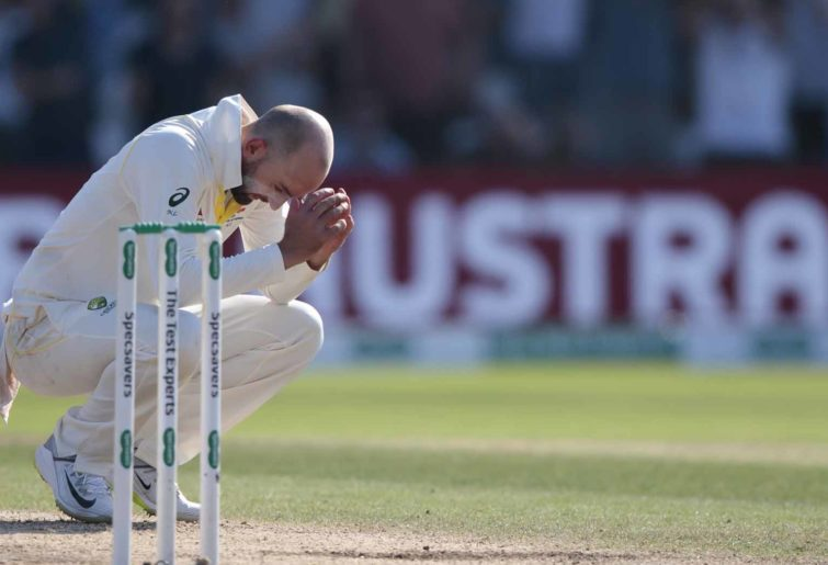 Nathan Lyon after being hit for six