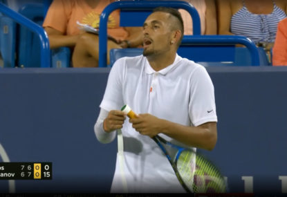 We can't even describe what just happened in Nick Kyrgios' latest loss