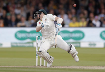 Smith cops sickening blow as Aussies scrap at Lord's