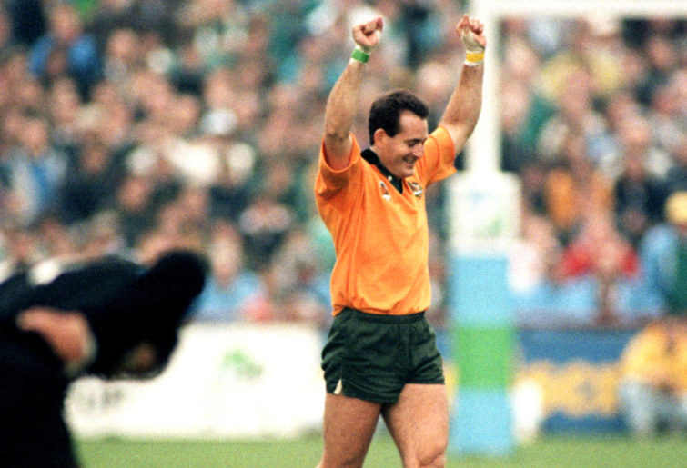 David Campese celebrates Australia's win over New Zealand