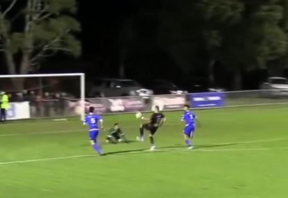Goalie slips right in front of striker and concedes easy goal